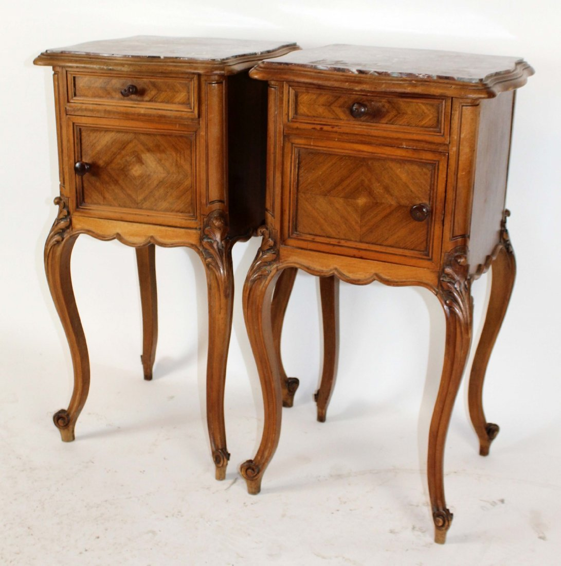 Pair of Louis XV marble top chevets - 4