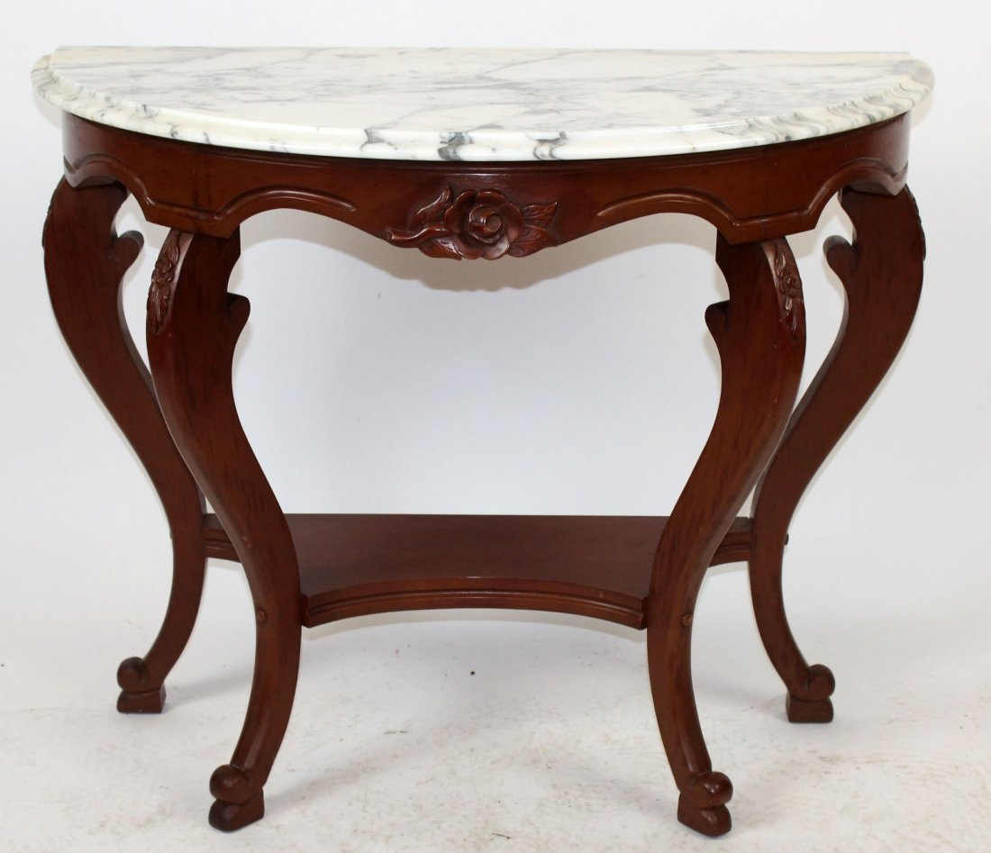 Mahogany demi lune console with marble top