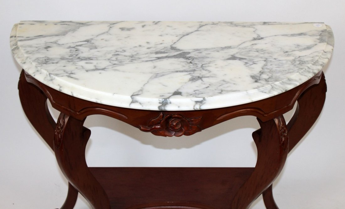 Mahogany demi lune console with marble top - 2