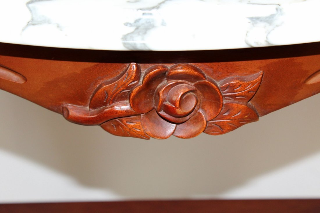 Mahogany demi lune console with marble top - 3