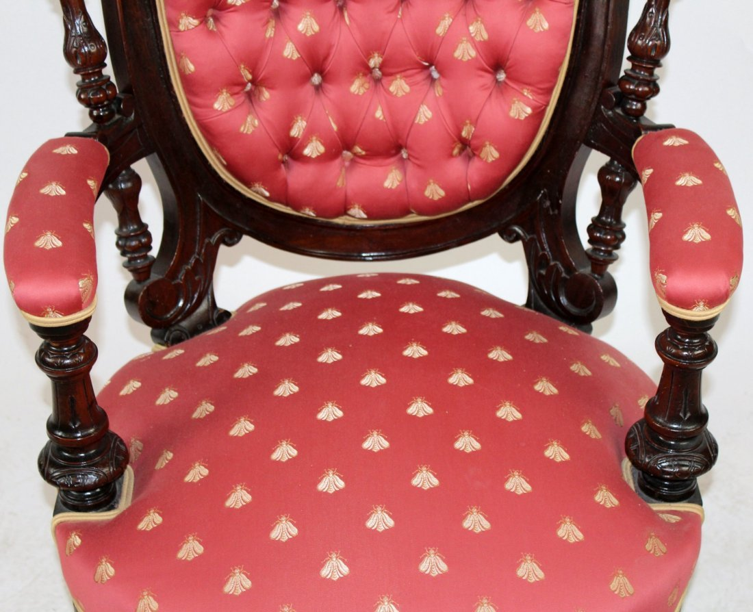 American Victorian tufted armchair - 3