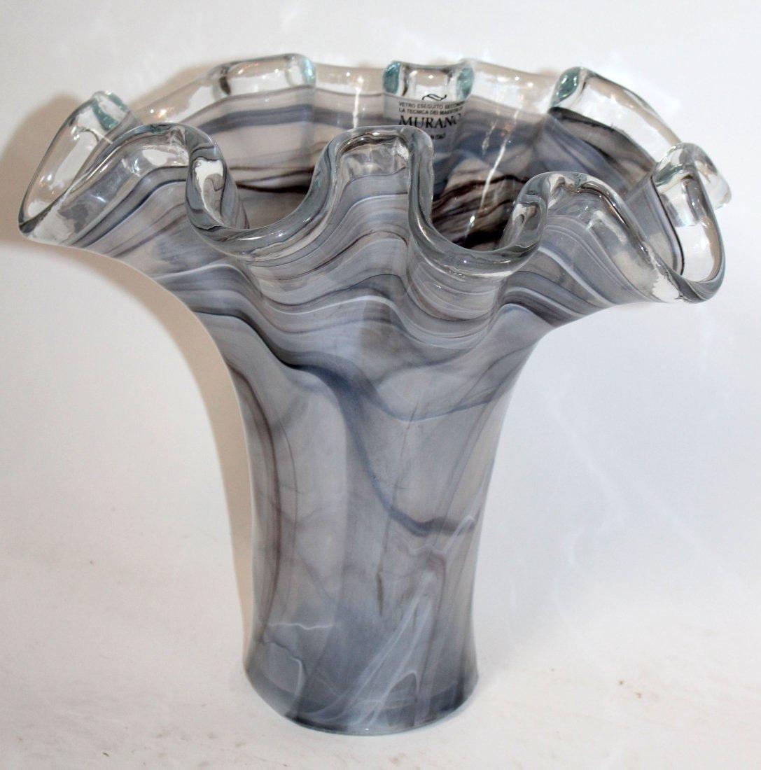 Murano glass ruffle edge vase