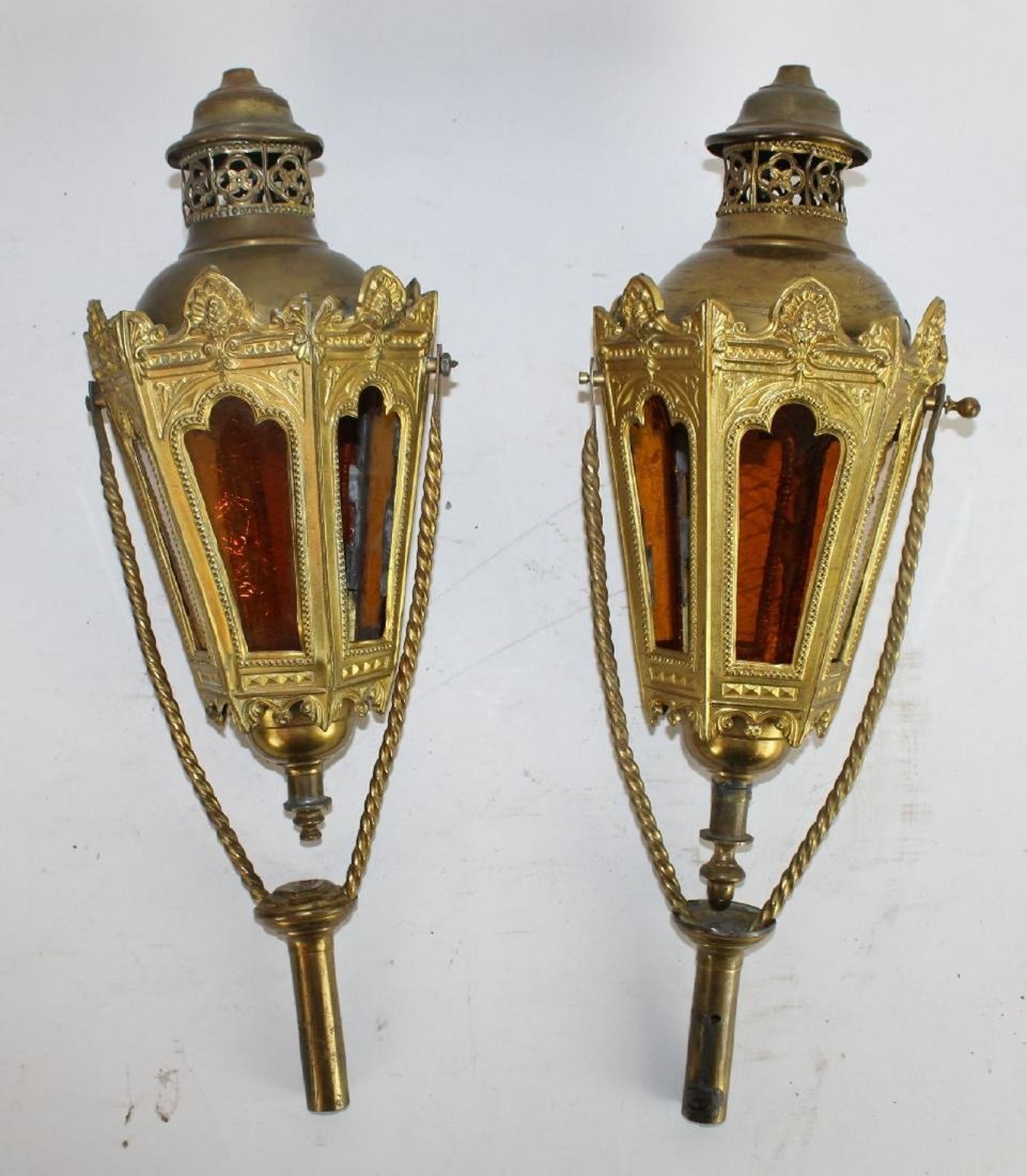 Pair of French Gothic processional lanterns