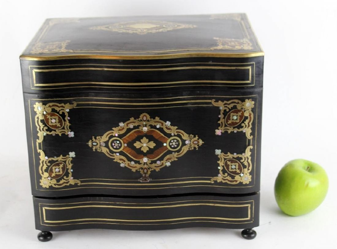 French Napoleon III tantalus in ebonized inlaid case - 3