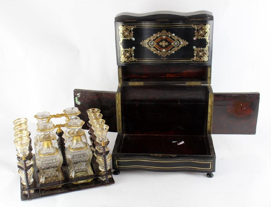French Napoleon III tantalus in ebonized inlaid case - 4