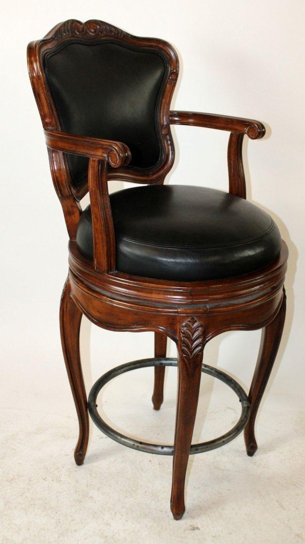 Pair of mahogany and black leather barstools - 4