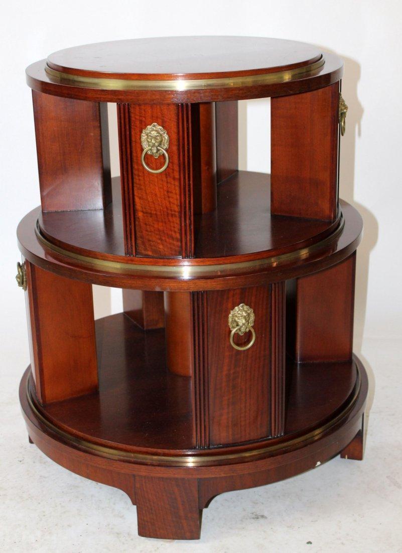 Revolving mahogany circular side table