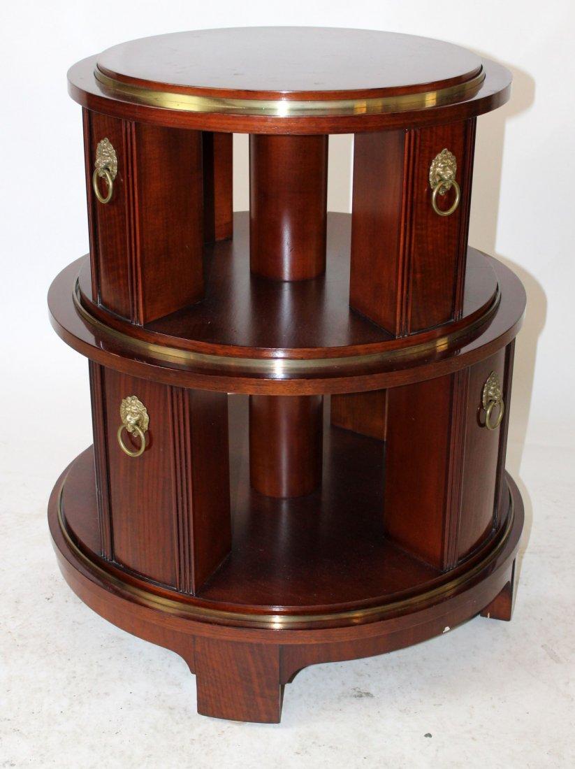 Revolving mahogany circular side table - 4