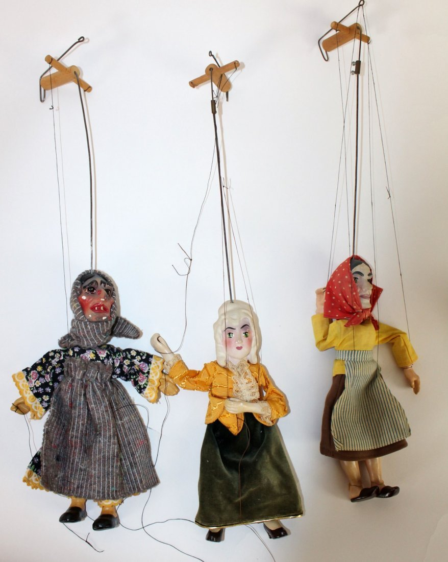 Lot of 3 marionette dolls