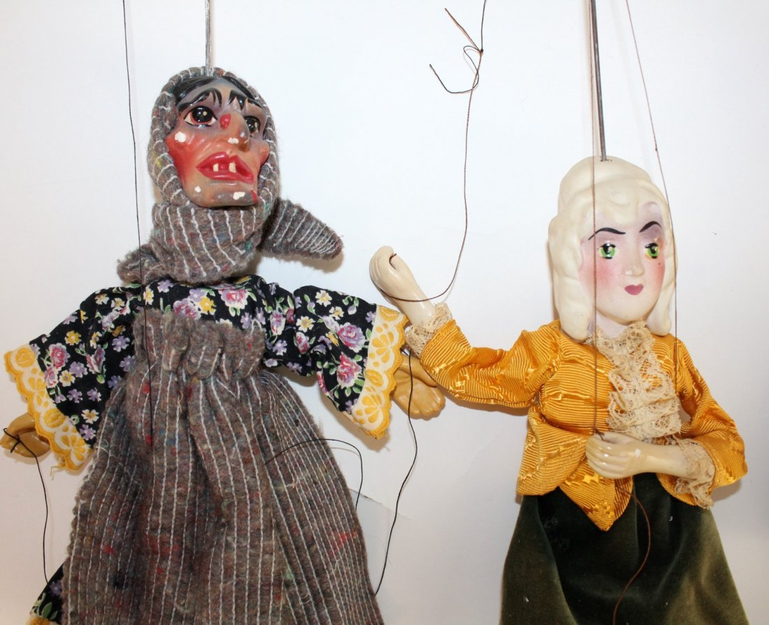 Lot of 3 marionette dolls - 2