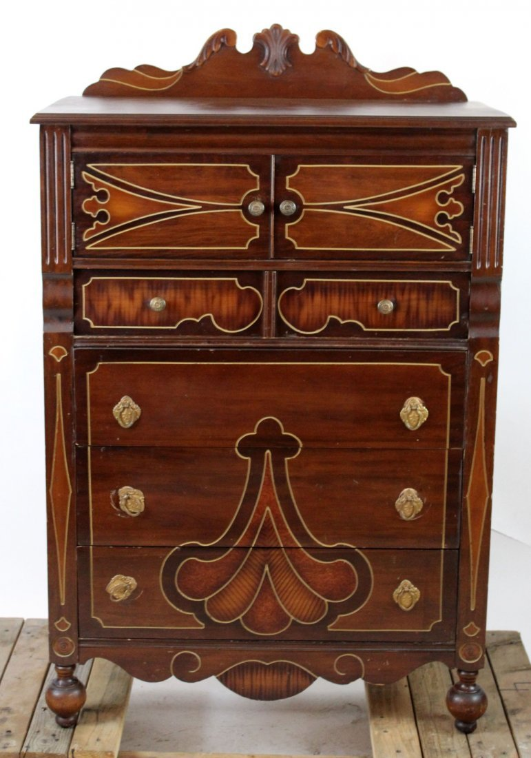 American incised mahogany chest of drawers