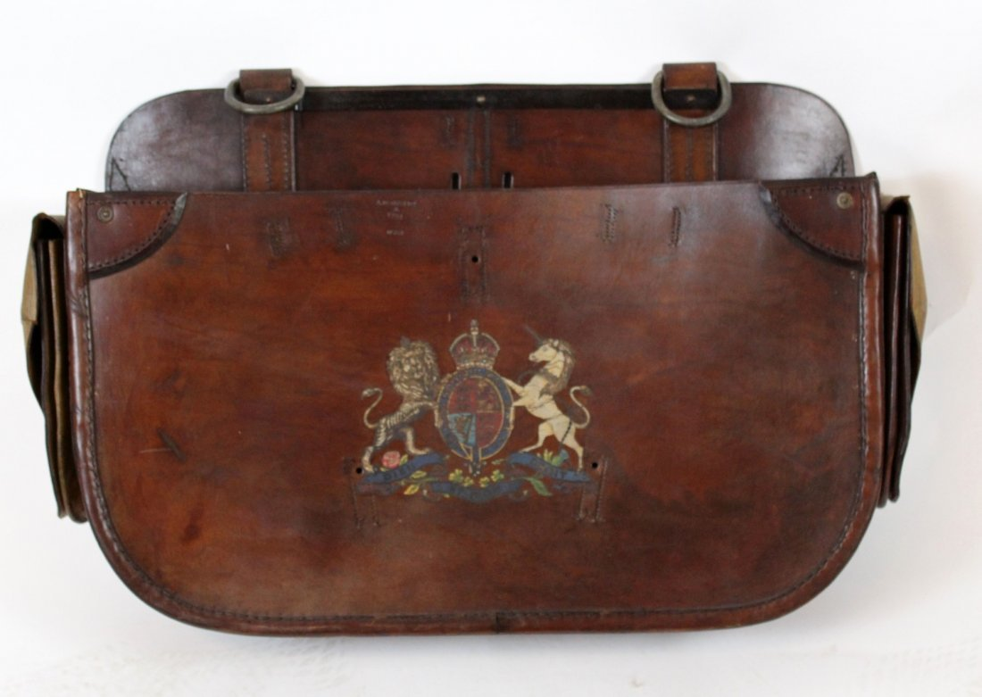 Antique English leather carriage bag