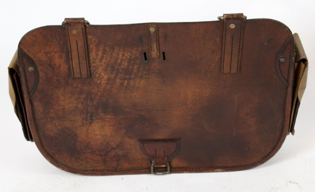 Antique English leather carriage bag - 4