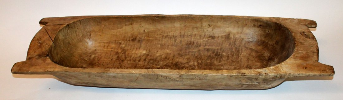 Primitive French wooden dough bowl