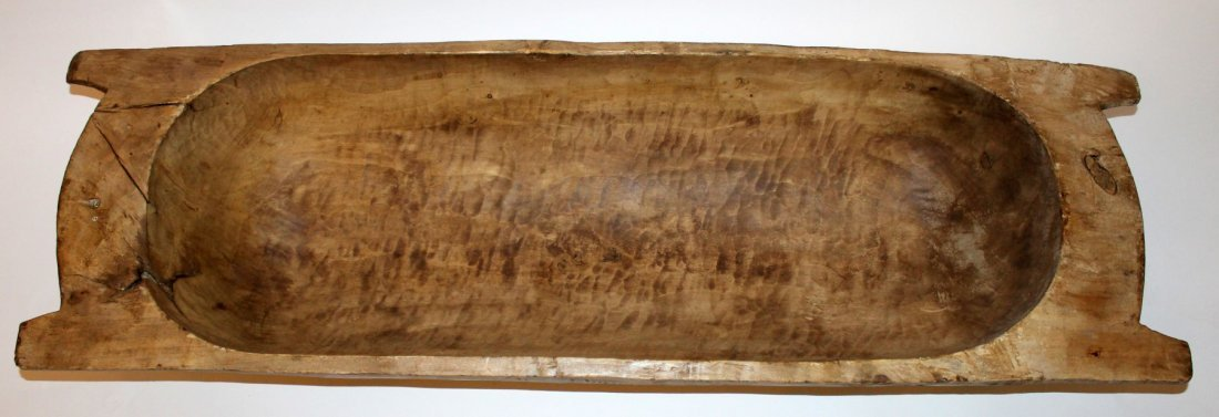 Primitive French wooden dough bowl - 2