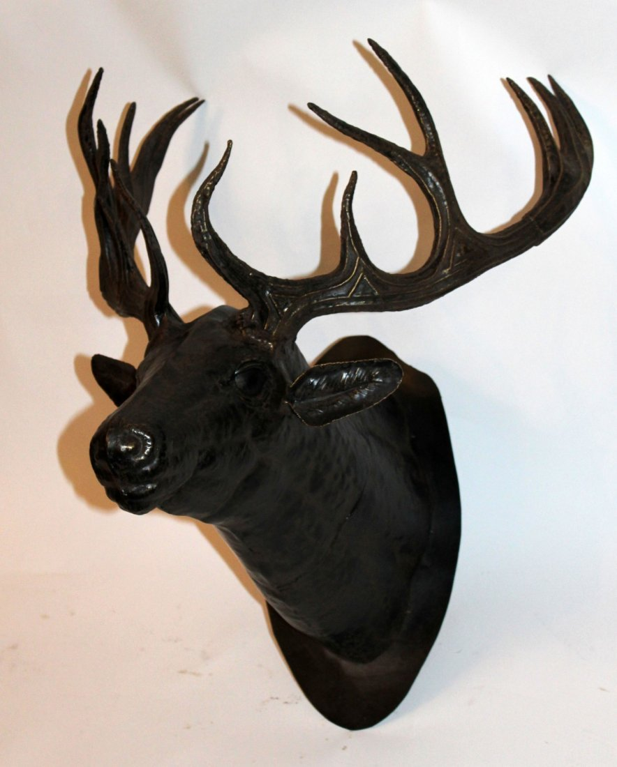 Cast metal deer head mount - 2