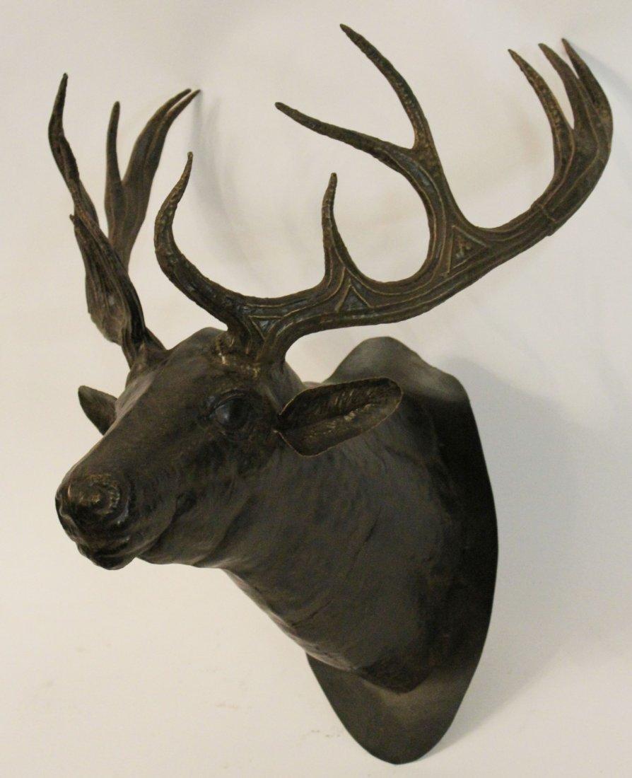 Cast metal deer head mount - 4