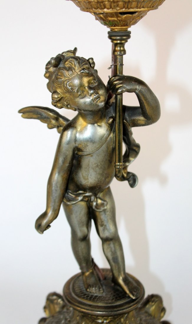 Figural lamp base with cherub - 3