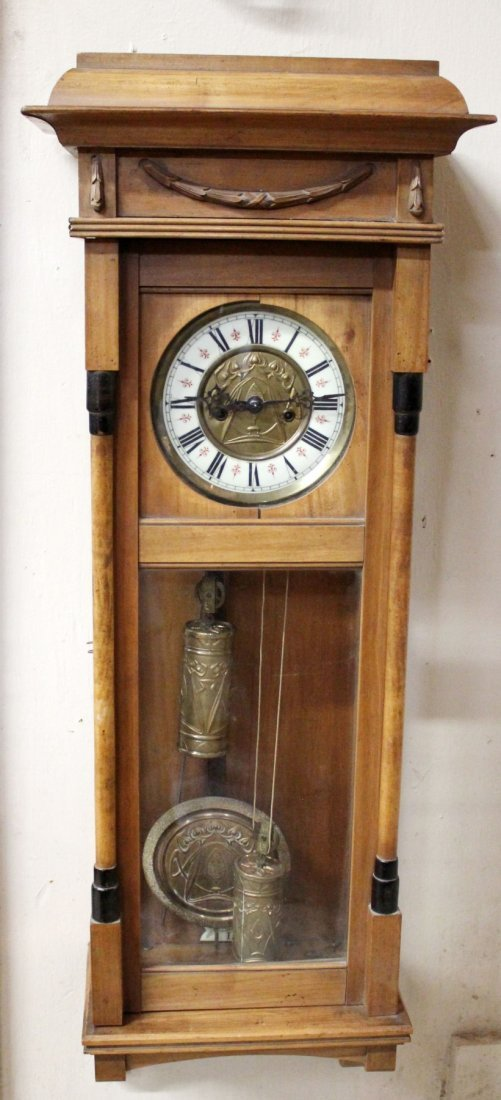 Gustav Becker wall clock in walnut case