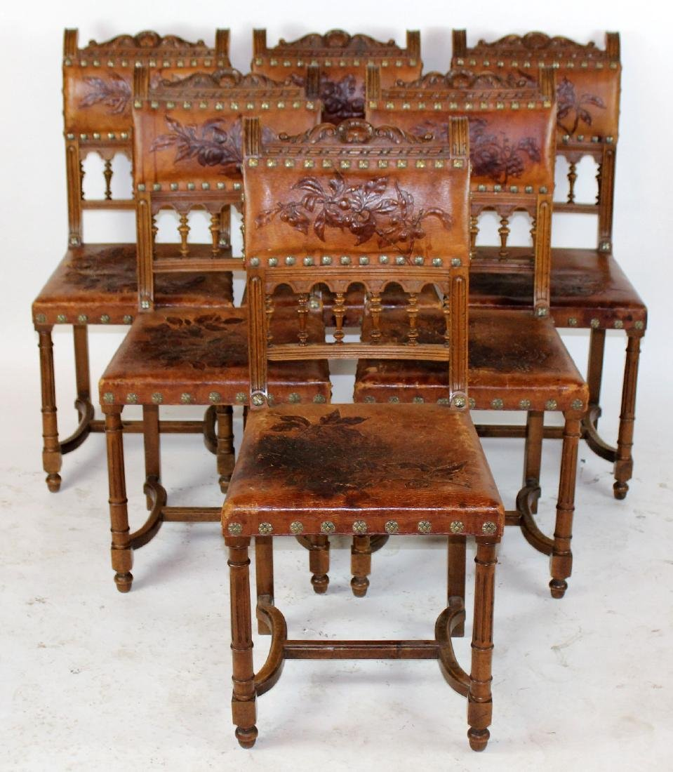Lot of 6 French tooled leather chairs