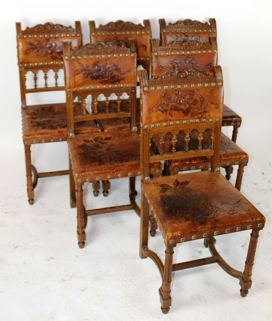 Lot of 6 French tooled leather chairs - 5