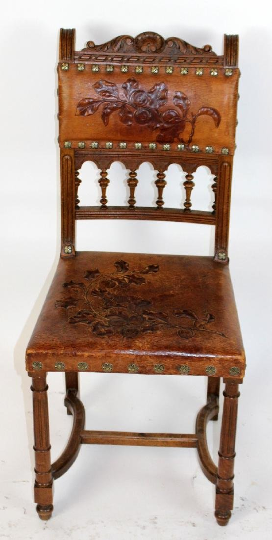 Lot of 6 French tooled leather chairs - 6