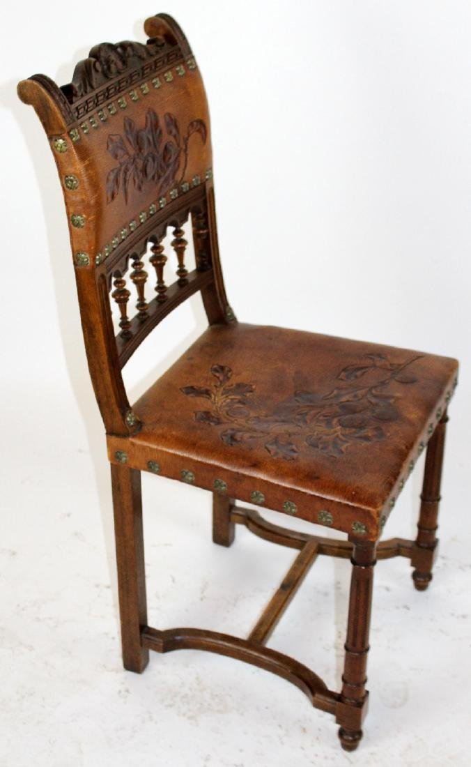 Lot of 6 French tooled leather chairs - 7