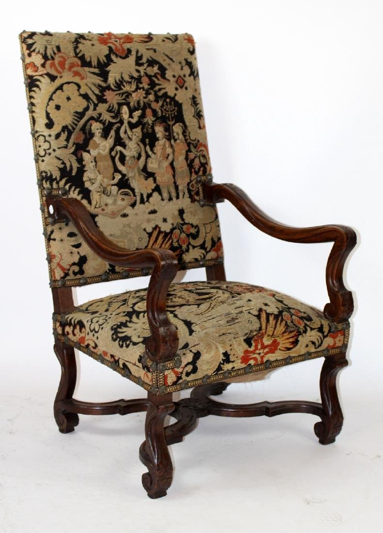 French Renaissance walnut armchair