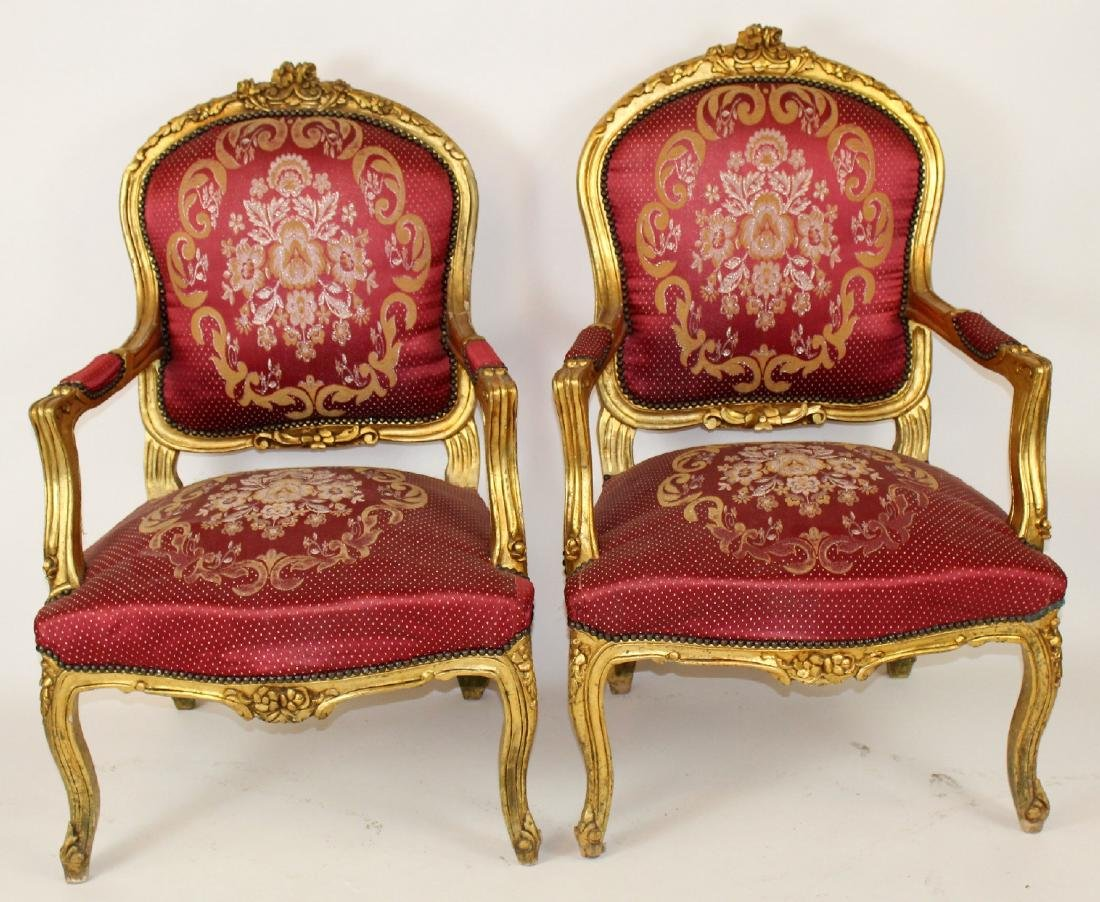 Pair of Louis XV gilt armchairs