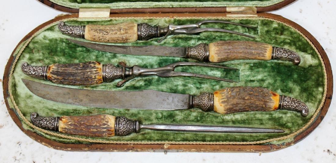 Antique antler horn & sterling carving set - 4
