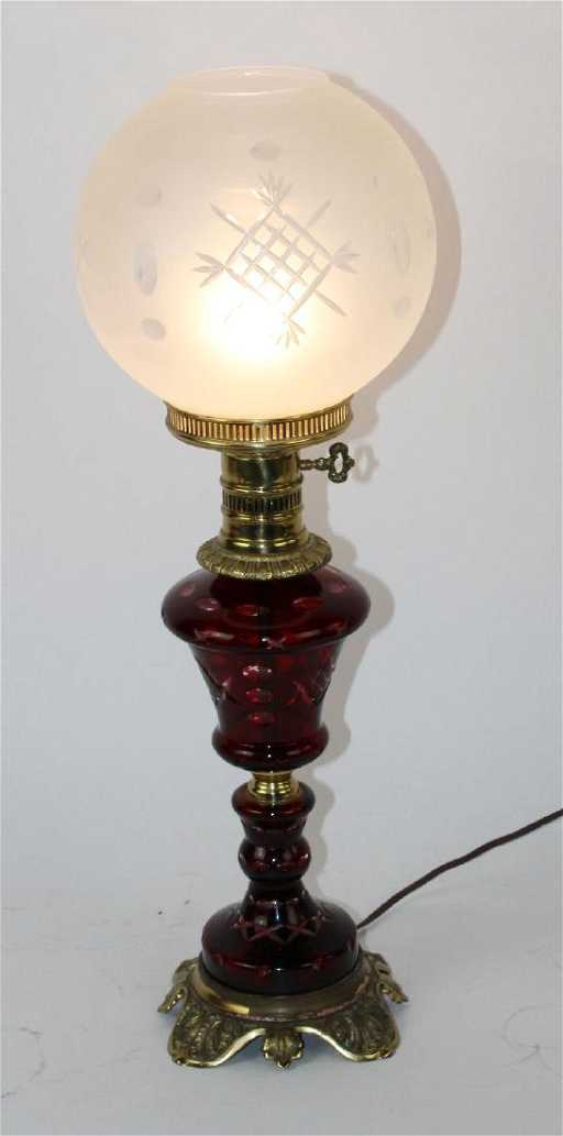 Victorian cranberry glass lamp with brass feet mozeypictures Image collections