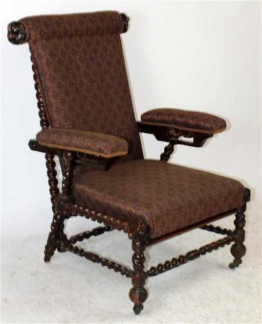 - Antique Morris Chair In Carved Walnut