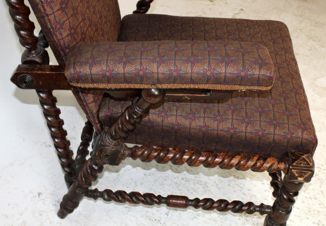 Antique Morris chair in carved walnut - 3