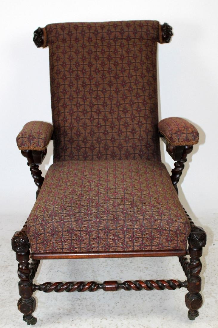 Antique Morris chair in carved walnut - 5