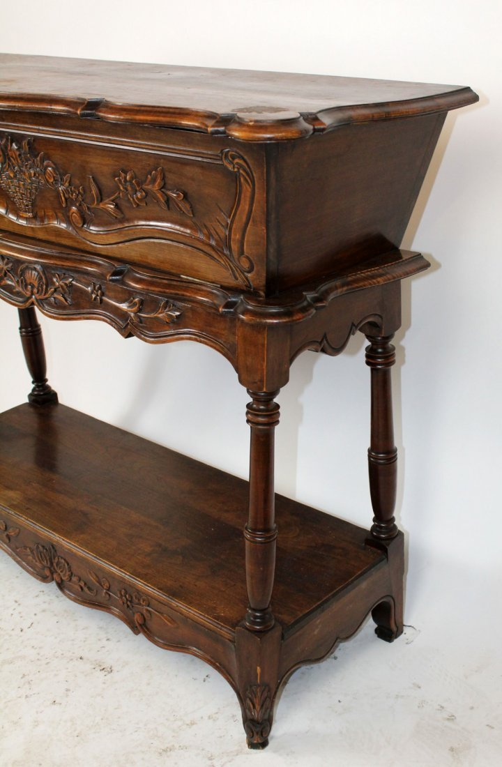 French Provincial carved walnut petrin - 3