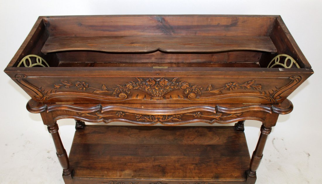 French Provincial carved walnut petrin - 4