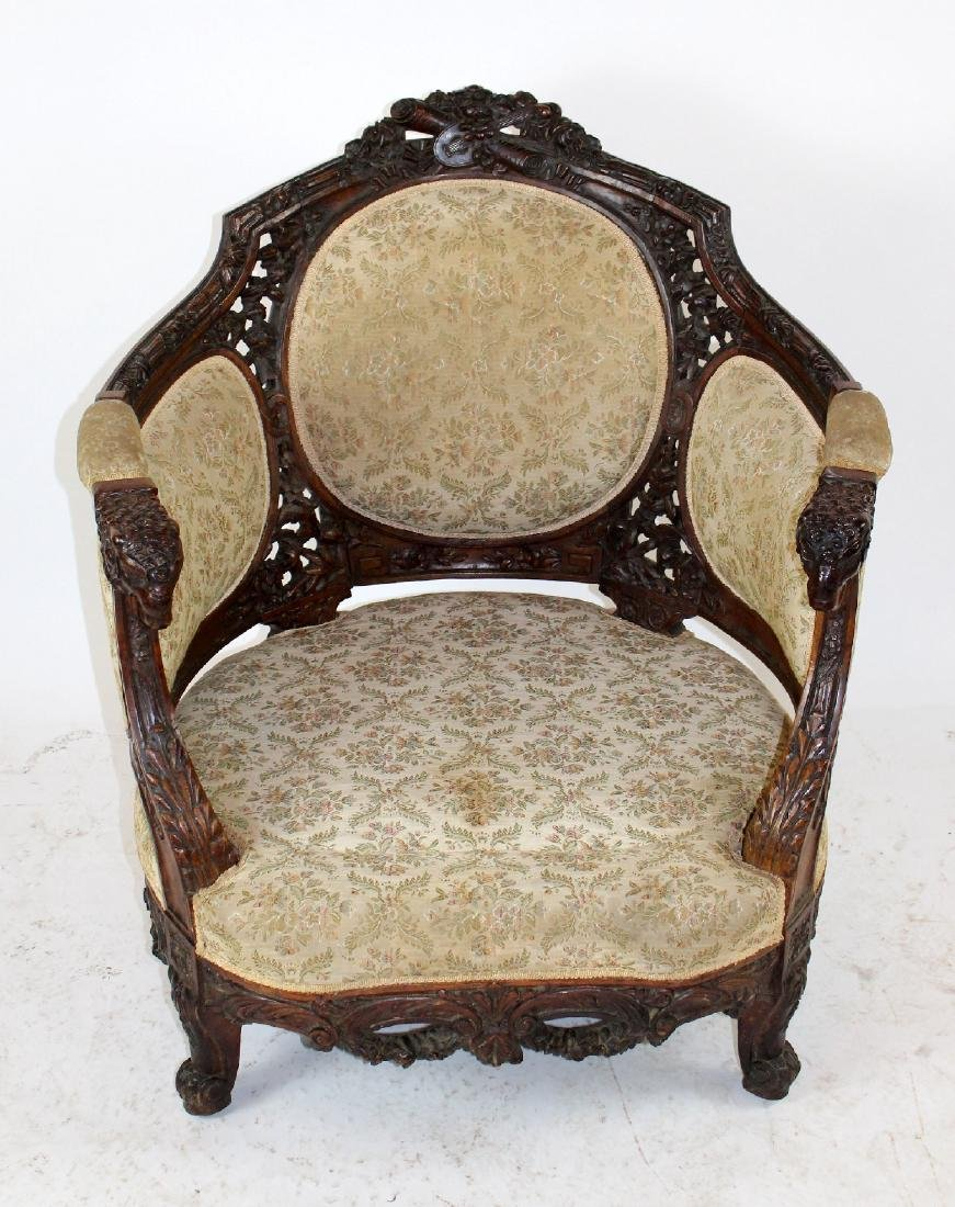 Louis XVI style curved back armchair