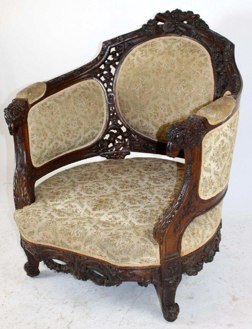 Louis XVI style curved back armchair - 4