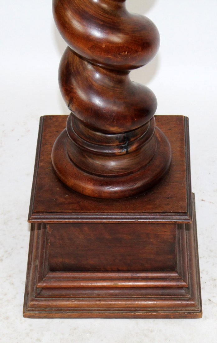 French barley twist pedestal in walnut - 2