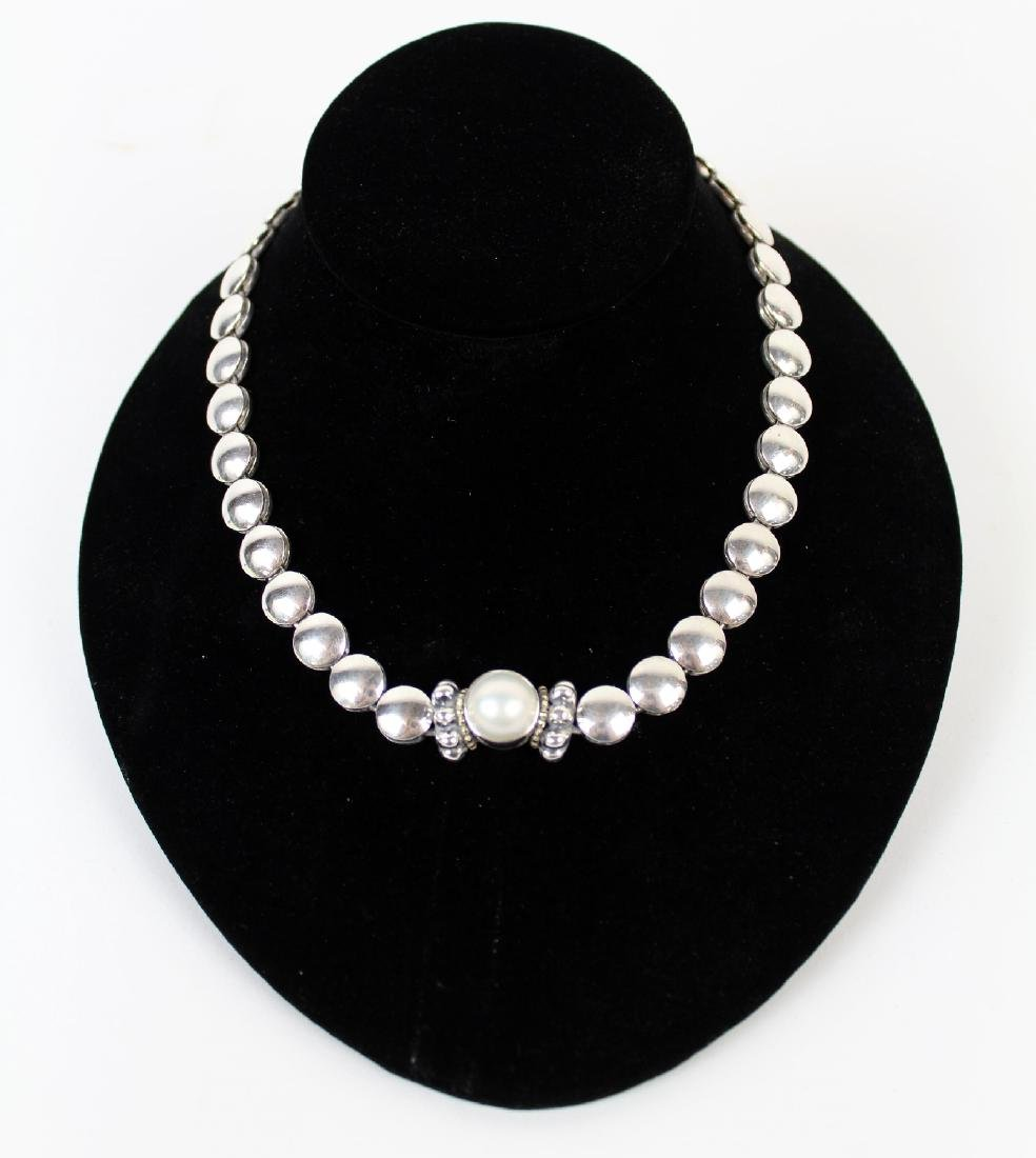 Lagos Caviar sterling silver & pearl necklace