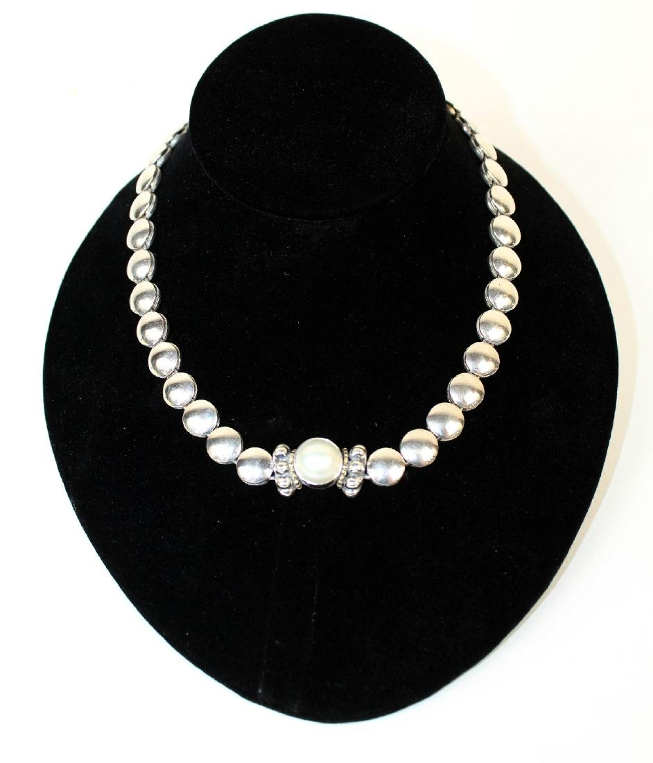 Lagos Caviar sterling silver & pearl necklace - 3