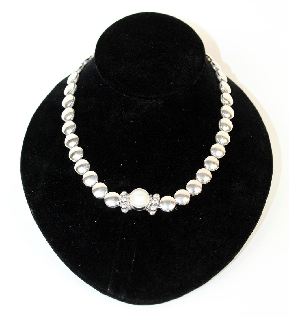 Lagos Caviar sterling silver & pearl necklace - 5