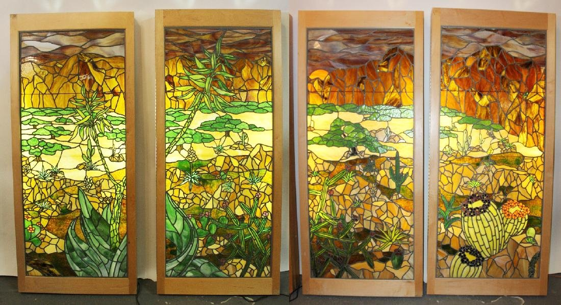 Set of 4 American stained glass windows
