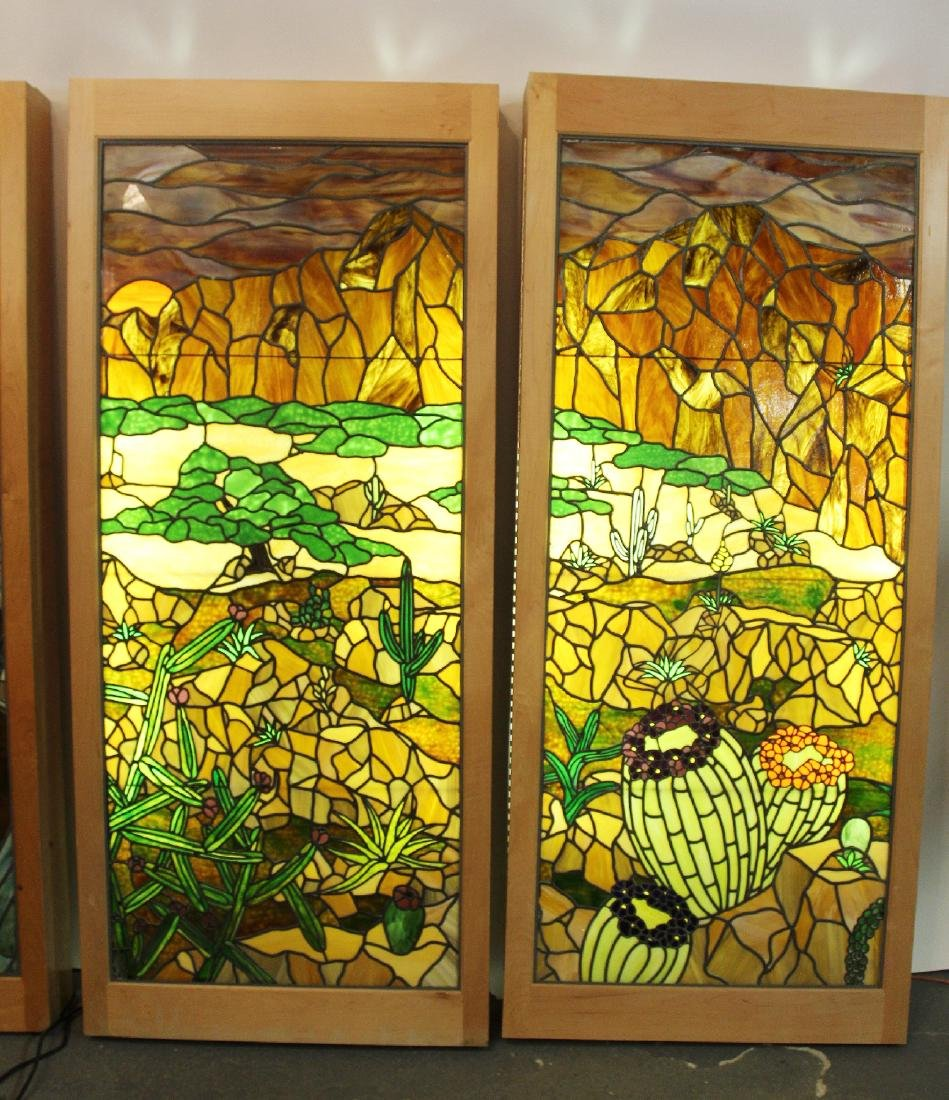 Set of 4 American stained glass windows - 3