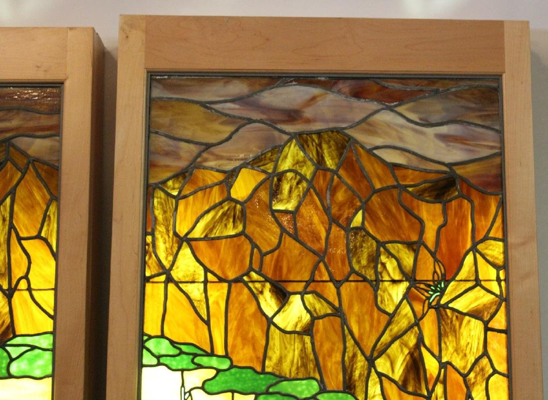 Set of 4 American stained glass windows - 4
