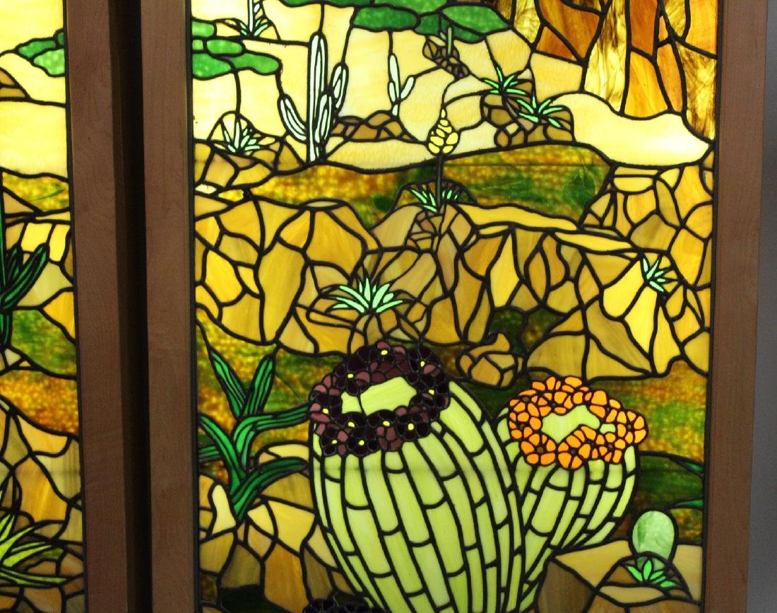 Set of 4 American stained glass windows - 5