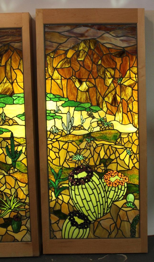 Set of 4 American stained glass windows - 7