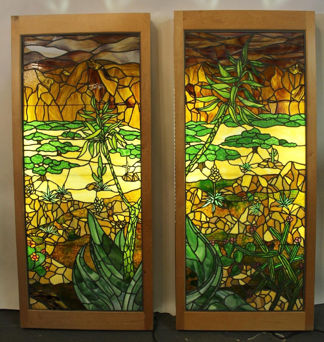 Set of 4 American stained glass windows - 8
