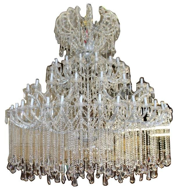 Monumental crystal 72 light chandelier