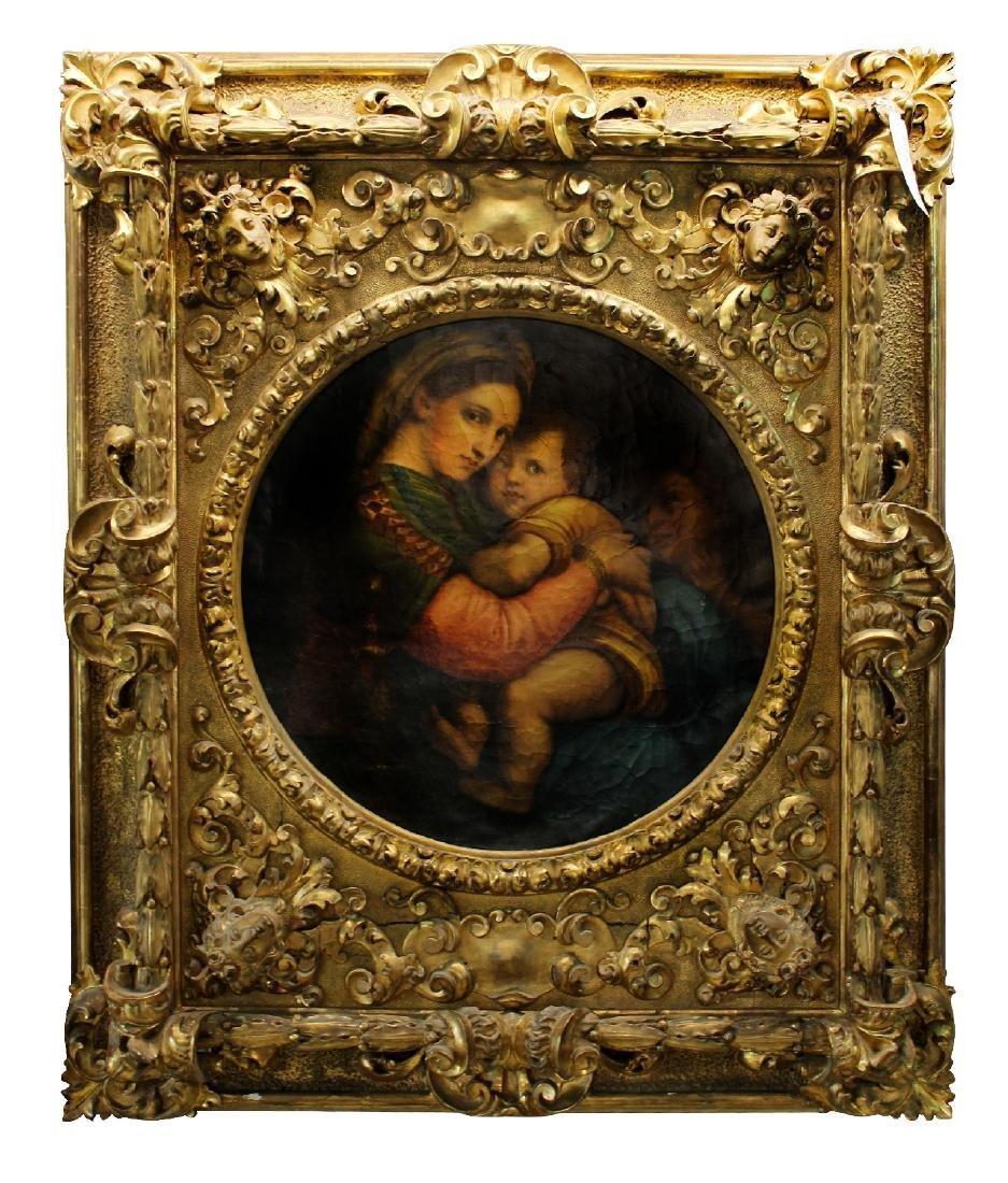 Madonna della Sedia. 19th century oil on canvas. After